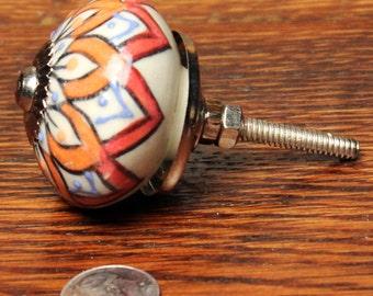 Ceramic Floral Knob - Ceramic Painted Knob - Ceramic Hand Painted Flower Knob - Handmade Ceramic Knob - Ceramic Dresser Knob - Dresser Knob