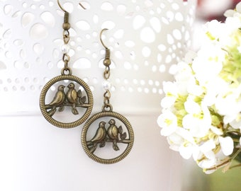 Love Bird Earrings Bronze Jewelry Pigeon Earrings Swallow Earrings Robin earrings Nature lover gift  White pearl earrings Nature inspired
