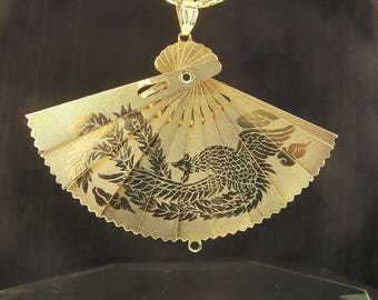 Chinese Fan Pendant - Birds of Paradise Dragon Art Reversible Gold Plated Pendant - Vintage Estate - Consignment
