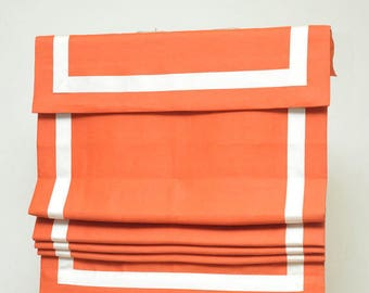 "Flat Roman Shade with valance "" Orange with White border""with chain mechanism, Windows Treatment, Custom made"