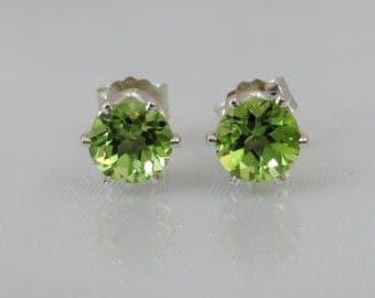 Peridot Stud Earrings in Sterling Silver, 5mm Peridot Gemstone, August Birthstone, Wedding Jewelry, Bride Earrings, Peridot Post Earrings