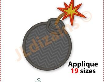 Bomb Applique Design. Bomb embroidery design. Embroidery design bomb. Applique design bomb. Explosion applique. Machine embroidery design