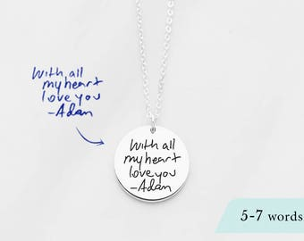 20% OFF Actual handwriting necklace • Custom handwriting jewelry • Memorial necklace for mom • Keepsake necklace • Gift for mom JN16