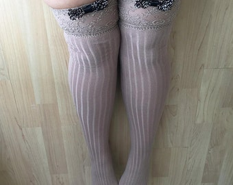 Jackie Sixties Leopard Print Bows Lingerie Soft Lace Tops Thigh High Stockings