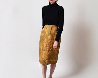 Zodiac Print Pencil Skirt Vintage Mustard Yellow Fitted Skirt High Waist Astrology Print Boho Hippie Waist 27 S