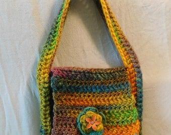 wool acrylic handbag w/ flower accent