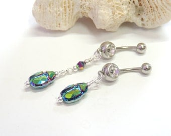 Green Crystal Scarab Belly Button Ring, Scarab Belly Ring, Crystal Dangle Belly Ring, Unique Belly Ring. 1655