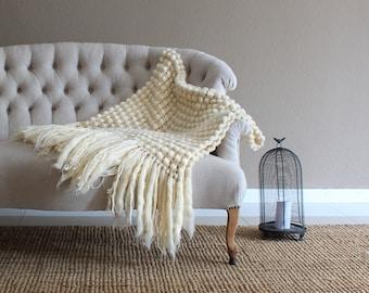 Super chunky blanket, natural wool throw, wedding present, housewarming gift, bulky throw, super bulky blanket, wool sofa blanket