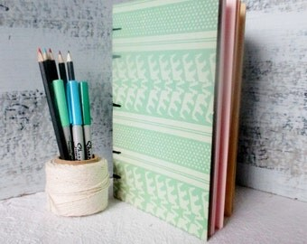 Coptic Stitch Sketchbook, Pink, Blue, Yellow, Green, Parchment Paper, Blank Notebook, Gratitude Journal, Idea Book, Planner, Back To School