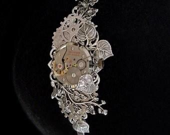 Steampunk Headband - Silver - Floral - Clockwork Headdress - Vegetal Watch Accessory - Hair Jewellery - Victorian - Retrofuturism - O'Clock