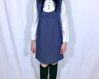 Vintage 60s Mod Navy Blue Polka Dot Peter Pan Collar Stretch Crepe Babydoll Loose Fitting Mini Dress M // L