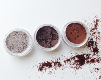 "Natural eyeshadow / Vegan makeup / Cruelty free makeup / Mineral eyeshadow / Organic makeup / ""the coffee collection""."