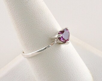 Size 9 Sterling Silver And .50ct Purple Heart Rhinestone Ring