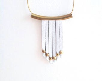 Minimalist Leather Necklace - Fringe Necklace - Long Leather Necklace - Boho Necklace - Gold and White - Statement - Leather and Brass