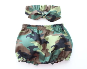 Baby Bloomers and top knot headband set in army military camo, baby army clothing