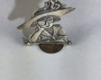 Mary Engelbreit Girl with Hat Sterling Silver Brooch with Whimsical Girl Wearing Large Hat and Sunglasses