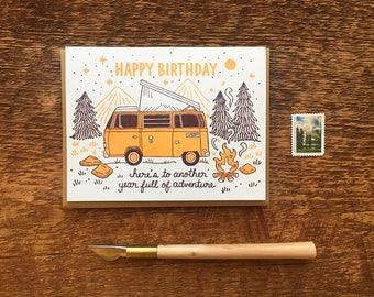 Happy Birthday Card, Birthday Adventure, Birthday Volkswagen Bus Card, Letterpress Birthday Card, Letterpress Folded Card, Blank Inside