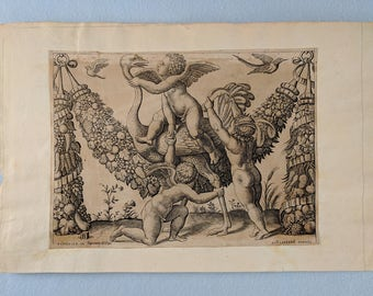 Master of the Die 16th century engraving, '3 Putti Playing with an Ostrich' from Tapestries of the Pope