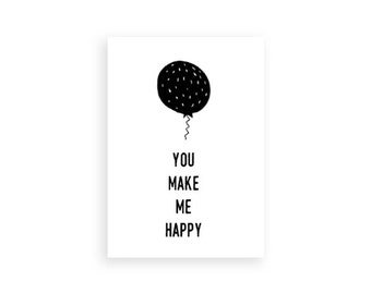 Greeting Cards, You make me happy, Set of 5 Greeting cards,Black and White, Cards For Friends, Gift Ideas, Minimal card