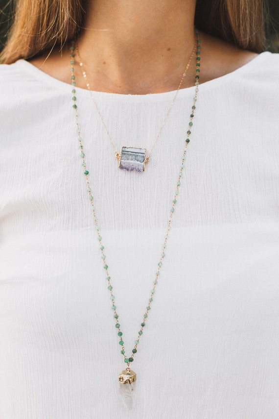 Petite Amethyst Slice Necklace