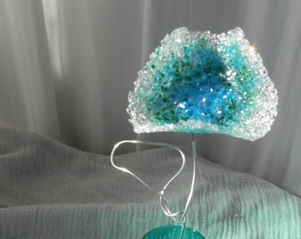 Fantastic Fused Glass Flower in a Turquoise Vase