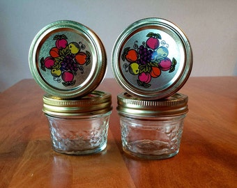 Ball Quilted Crystal Jelly Jars / Quilted Jam and Jelly Jars / Canning Jars / Vintage Bands and Decorative Lids / 4 oz Jelly Jars