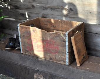 Pepsi Crate Wood Crate Storage Bin Salvage Wood Box Large Wooden Box Soda Crate Decorative Box Wooden Crate Rustic Crate 1960 Beverage Crate