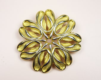 Large Brooch, Autumn Accessory, Fall Fashion, Sycamore Seeds, Circle Brooch, Statement Jewellery, Costume Jewelry, Metal - 1950's / 1960's