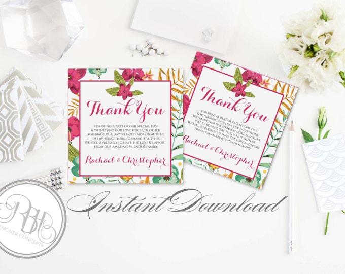 Tropical Island Thank You Card Template INSTANT DOWNLOAD-DIY Editable Text-Tropical Hawaiian Island Wedding-Matilda