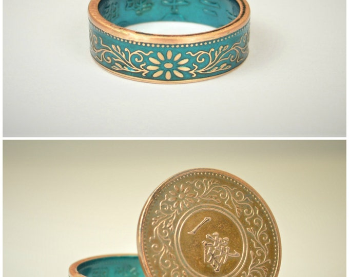Featured listing image: Coin Ring, Turquoise Ring, Japanese Ring, Bronze Ring, Japanese Coin, Japanese Jewelry, Coin Rings, Japanese, Coin Art, Japanese Coin Ring