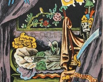 """Illustrator V. Konashevich. """"The Nightingale"""" Hans Christian Andersen. Vintage Soviet Postcard - 1963. Sovetskiy hudozhnik."""
