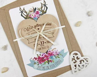 Save the Date Magnet, Floral Save the Date, Wood Save the Date, Wedding Invitation, Wedding Favor, Heart Save the Date, Antler Save the Date