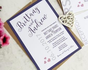 purple wedding invitation set rustic invitation custom invitation suite wedding invitations modern