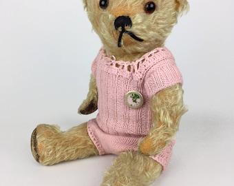antique mohair teddy bear, antique teddy bear, vintage teddy bear, 1930's-40's