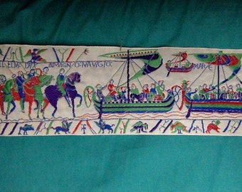Miniature early Medieval jacquard - a segment of the Bayeux Tapestry for 1:6 BJD dolls
