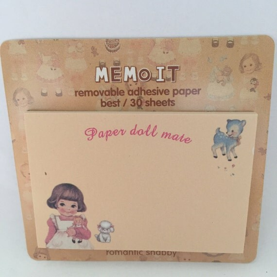 Vintage Girl Amp Deer Lamb Paper Doll Mate Sticky Note Set
