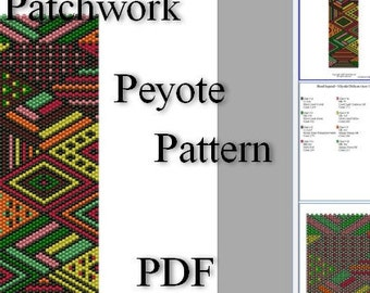 Patchwork peyote pattern Bracelets pattern colored peyote graph Bead Pattern Peyote Seed bead graph Abstract peyote cuff patchwork design
