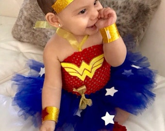 Wonder Woman Inspired Super Hero Tutu Costume (Wonder Baby) Wonder Girl