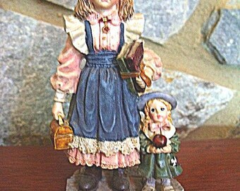 Yesterdays Child Laura with Jane First Day of School - Boyds Dollstone Collection - New Vintage Home Again Series Copyright 1995