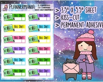 Amex Bill Stickers, Planner Stickers, Hand Drawn Stickers 190