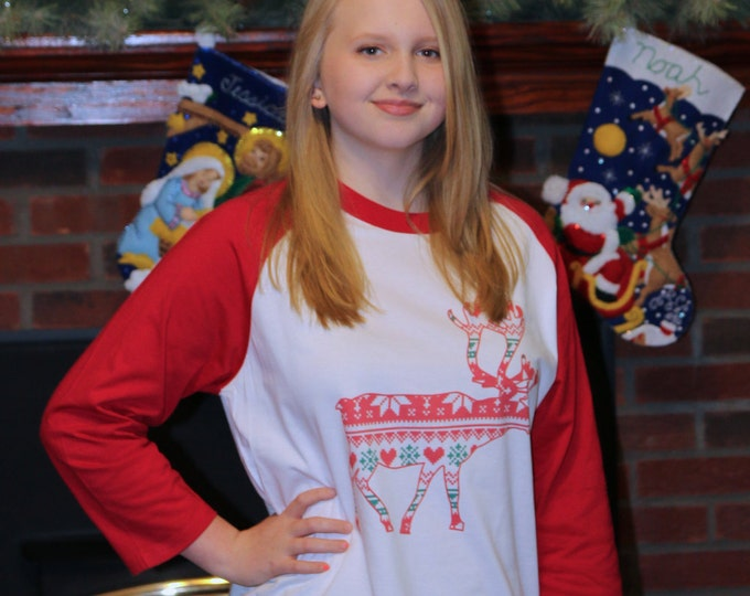 Reindeer Christmas raglan 3/4 sleeve t shirt MULTIPLE Color Fill Choices Available SIZES Youth XS- Adult 6X Trendy Rudolph chevron  ah