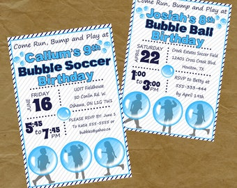 BUBBLE SOCCER BALL Birthday Party Invitation Invite - Soccer - Digital or Printed Human Bubbles Bounce Sphere