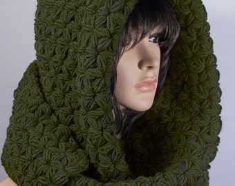 Hooded Scarf, Long Scarf, Chunky hooded scarf, Hooded long scarf, Scoodie Scarf, Knit scoodie by LoveKnittings   029