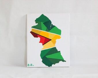 Guyana Painting, Original Painting, Guyana, Guyana Flag, Guyana Art, Map Art, Flag Art, Map of Guyana, Travel Decor, Travel Gift, Travel Art