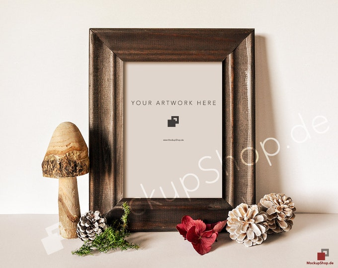 5x7 AUTUMN FRAME MOCKUP // Scroll hydrangea with autumnal and small apples / Empty Frame Mockup Autumn // Frame Mockup // Fall Mockup Frame