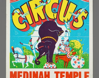 1960s Medinah Shrine Circus Poster Advertising 600 North Wabash Avenue Chicago Vintage Lithograph