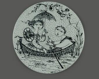 Vintage Bjorn Wiinblad Nymolle Denmark July Nocturne Wall Ceramic Plate Black & White