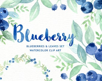 Blueberry Watercolor clipart, wreath, branch, watercolor flowers, wedding invitation, greeting card, diy clip art, blue and green