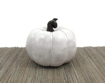 Pottery Pumpkin, White and Black Ceramic Pumpkin, Pottery Fall Decor, Autumn Halloween Decor, Thanksgiving Table Ornament, Ready to Ship