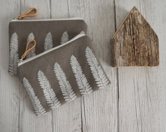 Grey hand printed small fabric pouch, Bill White, fern pattern Between, coin holder, smartphone